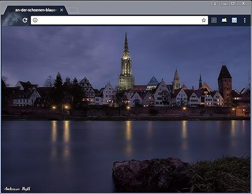 Skyline Ulm / blaue Stunde