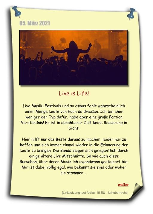 live is life, kissin` dynamite und weiter zum konzertmitschnitt